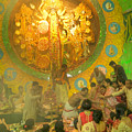 Priest Distributing Flowers For Praying To Goddess Durga Durga Puja Festival Kolkata India by Rudra Narayan  Mitra
