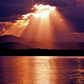 Priest Lake Sunset Heavenly Light by Ed  Riche