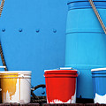 Primary Colors - Paint Buckets On A Ship by Mitch Spence