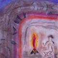 Primitive Man Fireside by Robyn Louisell