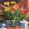 Primroses And Blue China by Jimmie Trotter