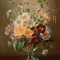 Primulas In A Glass Vase  by Albert Williams