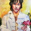 Prince Rogers Nelson Holding A Rose by Suzann's Art
