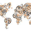 Princeton University Colors Swirl Map Of The World Atlas by Jurq Studio