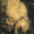 Profile Of A Woman With Flowers by Odilon Redon