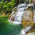 Profile Of The Lower Falls At Enfield Glen by Karen Jorstad