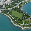 Promontory Point In Burnham Park In Chicago Aerial Photo by David Oppenheimer