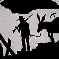 Prospector And Mule  In Metal Tombstone Arizona 2004-2014 by David Lee Guss