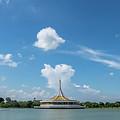 Public Park View Large Pond by Que Siam