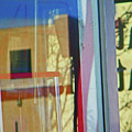Pueblo Downtown Reflection With Flag by Lenore Senior