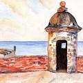 Puerto Rico Sentry Box Ocean View by Carlin Blahnik CarlinArtWatercolor