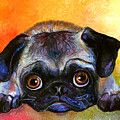 Pug Dog Portrait Painting by Svetlana Novikova
