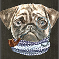 Pug Monacle Scarf Pipe Dogs In Clothes by Trisha Vroom