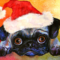 Pug Santa Portrait by Svetlana Novikova
