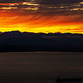 Puget Sound Olympic Mountains Sunset by Mike Reid