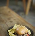 Pulled Pork Bun With Fries by Jacek Malipan