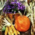 Pumpkin Corn And Asters by Susan Savad