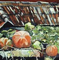 Pumpkins On Roof by Seon-Jeong Kim