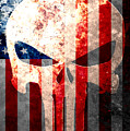 Punisher Themed Skull And American Flag On Distressed Metal Sheet by M L C