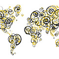 Purdue University Colors Swirl Map Of The World Atlas by Jurq Studio
