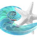 Pure Joy - Starfish With Nautilus Shell by Gill Billington