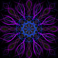 Purple Blue Kaleidoscope Square by Adam Romanowicz