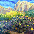 Purple Cactus With Yellow Flower by Ralph Papa