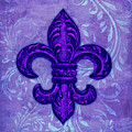 Purple French Fleur De Lys, Floral Swirls by Tina Lavoie
