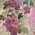 Purple Grapes And Blue Birds by Lian Zhen