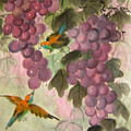 Purple Grapes And Yellow Bird by Lian Zhen