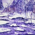 Purple Ice On Kaaterskill Creek by Ellen Levinson