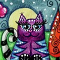 Purple Kitty With Blue Stripes In Moonlight by Monica Resinger
