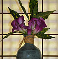 Purple Lilies In Japanese Vase by Bill Cannon