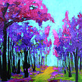 Purple Magenta, Forest, Modern Impressionist, Palette Knife Painting by Patricia Awapara