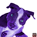 Purple Pitbull Dog Art 7435 - Wb by James Ahn