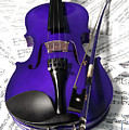 Purple Violin And Music X by Helen Northcott