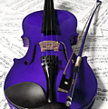 Purple Violin And Music Xi by Helen Northcott