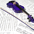 Purple Violin And Music Xiii by Helen Northcott