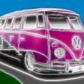 Purple Vw Bus by Paul Van Scott