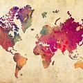 Purple World Map Watercolor Print  by Svetla Tancheva