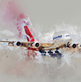 Qantas Air Bus Water Color by Rospotte Photography