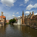 Quay Of The Rosary In Bruges Belgium by Louise Heusinkveld