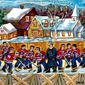 Quebec Village Country Scene Hockey Rink Painting Montreal Canadiens Rink Hockey Game C Spandau Art  by Carole Spandau
