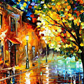 Quiet Corner-garden On The Stones - Palette Knife Oil Painting On Canvas By Leonid Afremov by Leonid Afremov