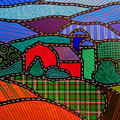 Quilted Red Barn And Mountains by Jim Harris