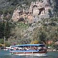 Quintessentially Dalyan River Boats And Rock Tombs by Tracey Harrington-Simpson