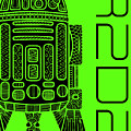 R2d2 - Star Wars Art - Green by Studio Grafiikka