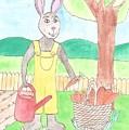 Rabbit Gardening In The Kitchen Garden by Nina Ninnog