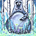 Raccoon Under The Moonlight by Elizabeth Robinette Tyndall