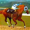 Race Horse Secretariat Triple Crown Winner 1973 Original Oil Painting